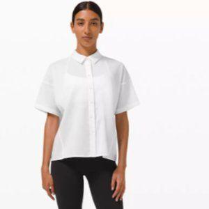 Lululemon Boxy Seersucker Short Sleeve Shirt